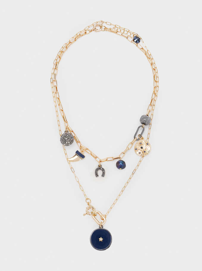 Short Necklace With Charms And Crystals, Blue, hi-res