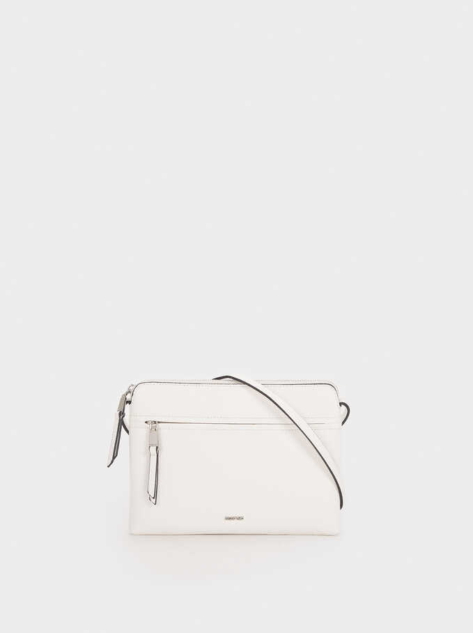 Shoulder Bag With Outer Pocket, White, hi-res