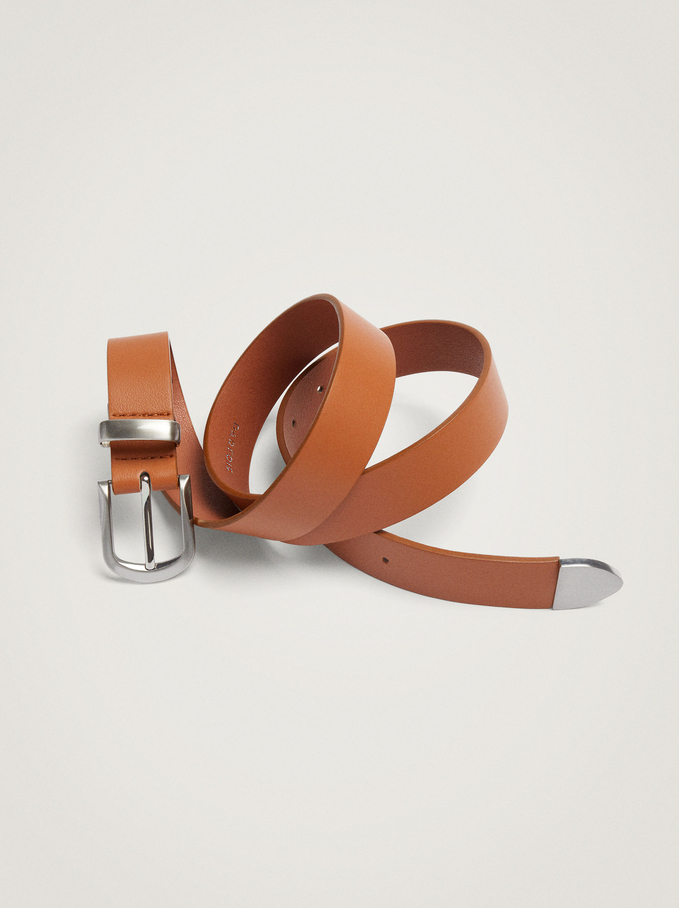 Belt With Square Buckle, Camel, hi-res