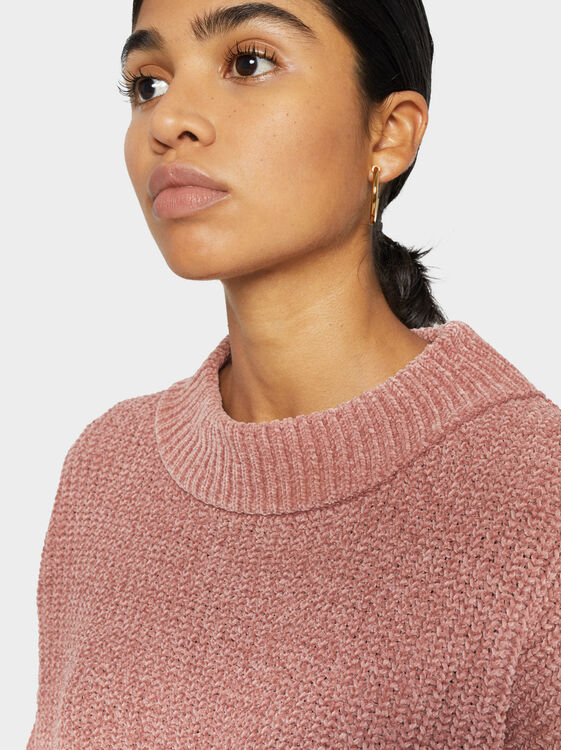 Two-Tone Knit Sweater, Pink, hi-res