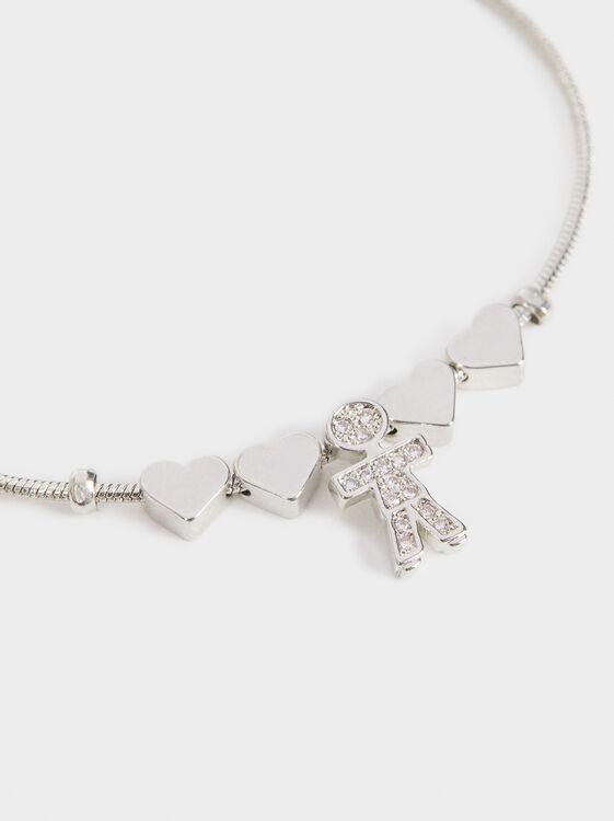 Boy'S Adjustable Heart Bracelet, Silver, hi-res