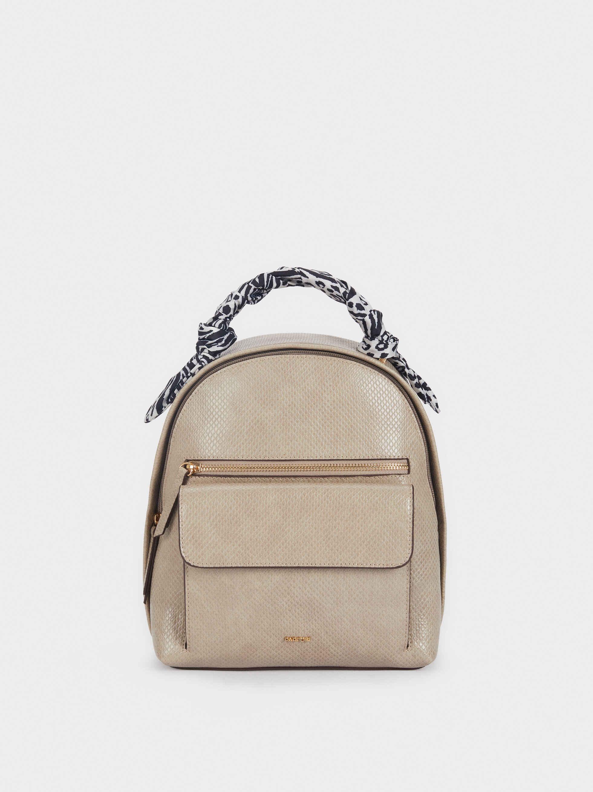 Backpack With Contrasting Printed Handle, Ecru, hi-res
