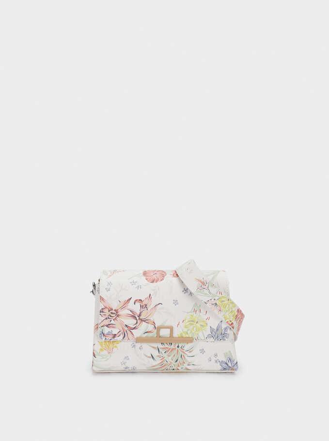 Floral Print Crossbody Bag, Coral, hi-res