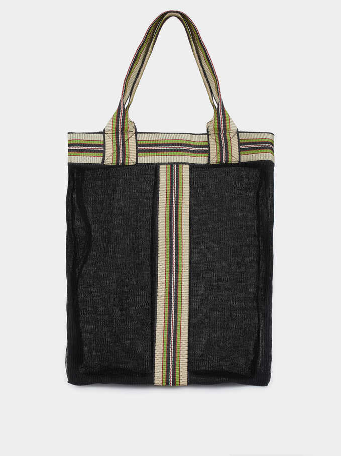 Tote Bag With Contrast Stripe, Black, hi-res