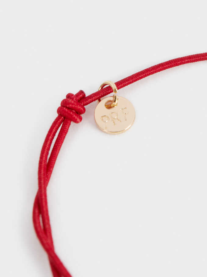 Adjustable Gold Bracelet With Clover Charm, Red, hi-res