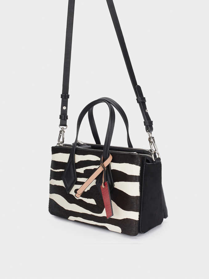 Leather Tote Bag With Animal Print, Black, hi-res