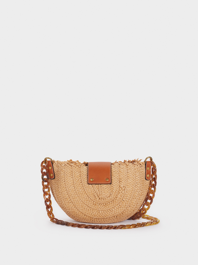 Raffia Shoulder Bag, Beige, hi-res