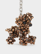 Key Chain With Beading, Brown, hi-res
