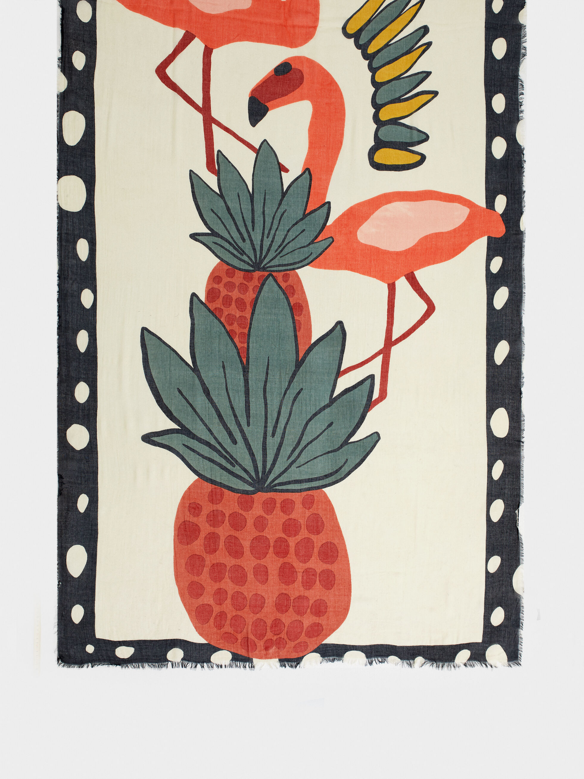 Printed Modal Scarf With Pineapple And Flamingos, Red, hi-res