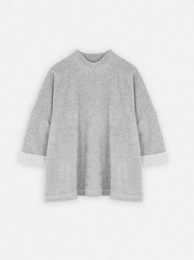 Plain Oversized Sweater, Grey, hi-res