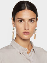 Stone Story Long Earrings With Fringe, Multicolor, hi-res