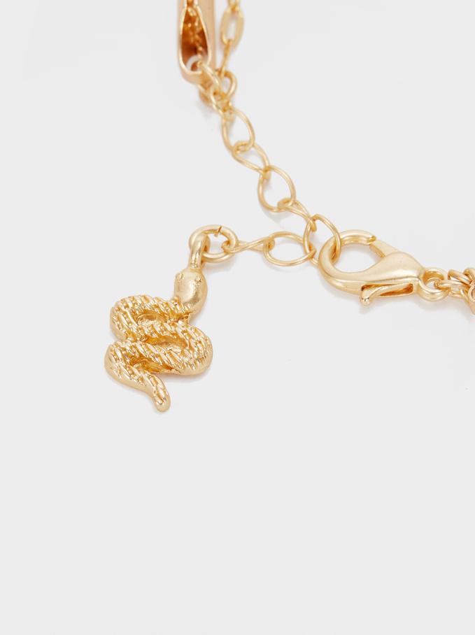 Gold Chain Metal Bracelet With Snake, Multicolor, hi-res