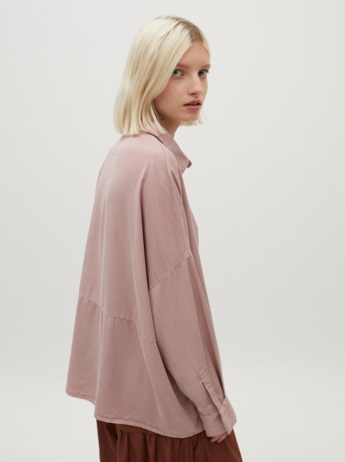 Plain Oversized Shirt, Pink, hi-res