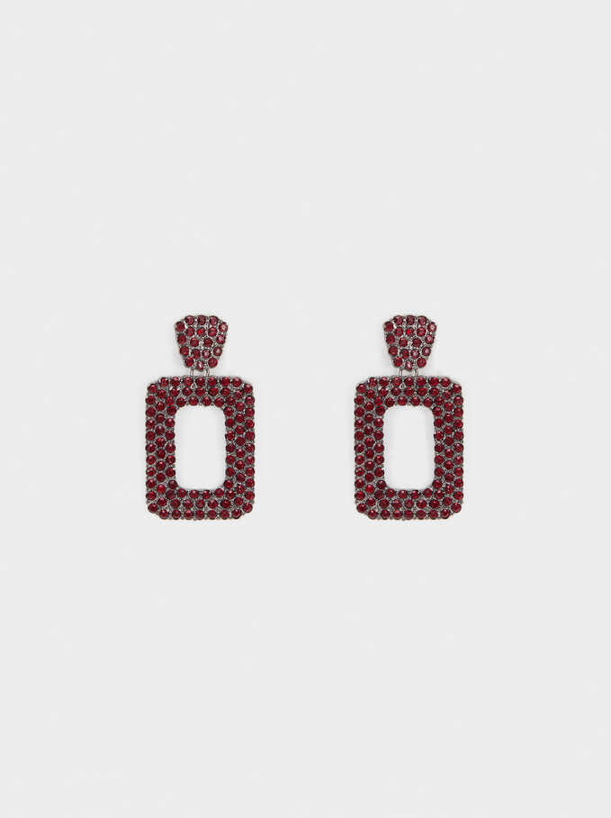 Long Earrings With Crystals, Bordeaux, hi-res