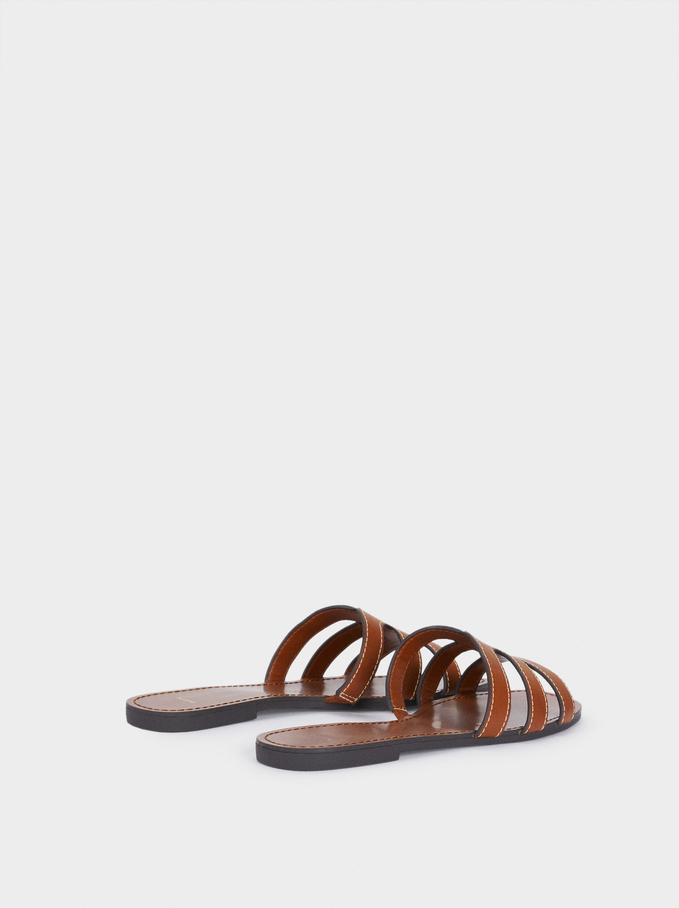 Embossed Animal Print Flat Sandals, Camel, hi-res