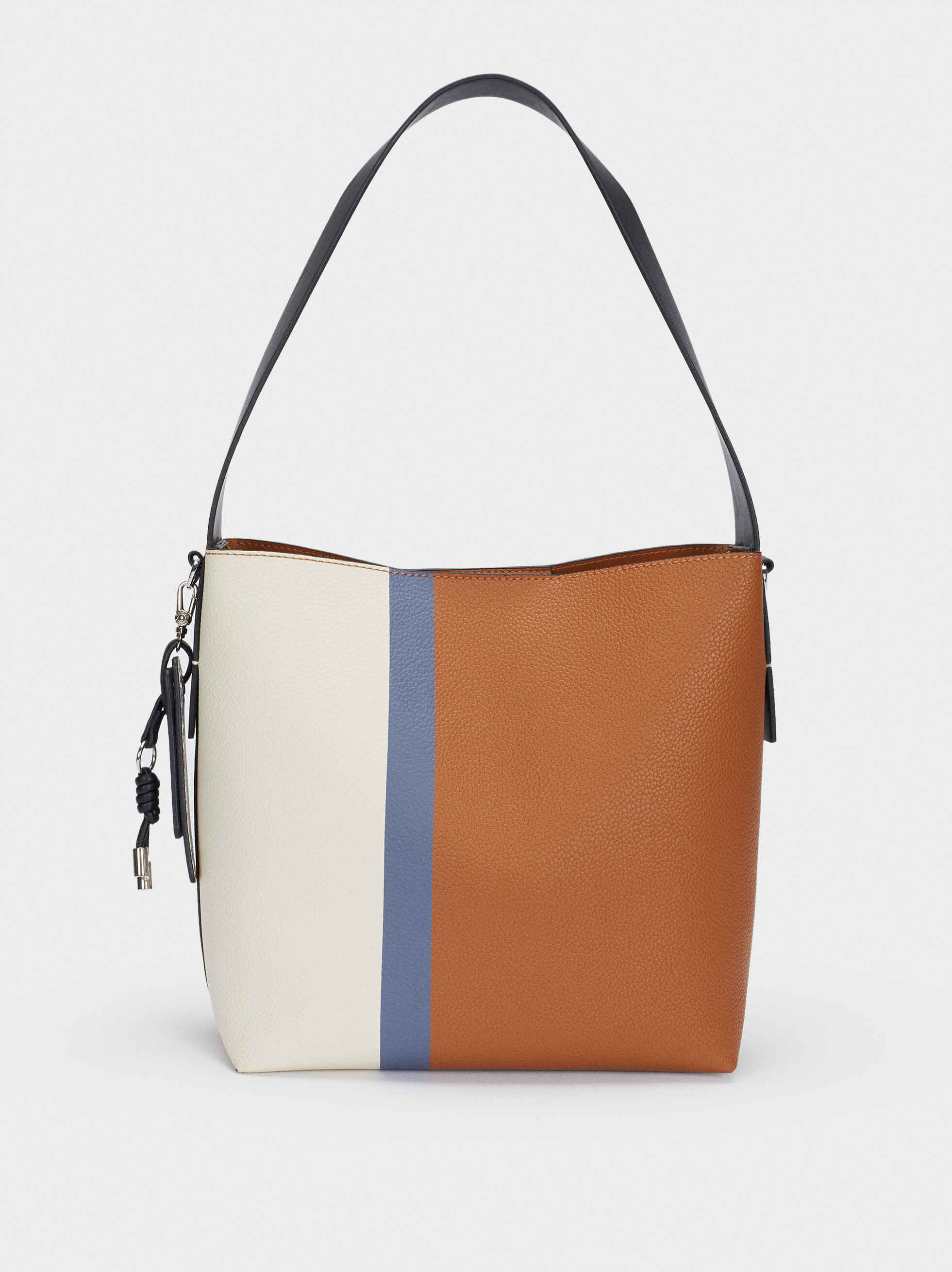 Shoulder Bag With Charm, Blue, hi-res