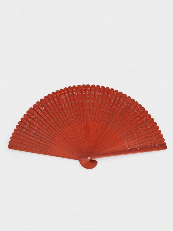 Faux Wood Fan, Orange, hi-res