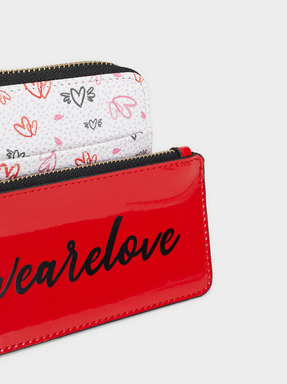 We Are Love Print Large Purse, White, hi-res