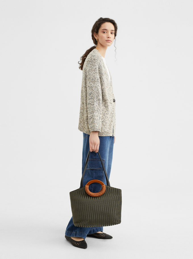 Braided Tote Bag, Khaki, hi-res