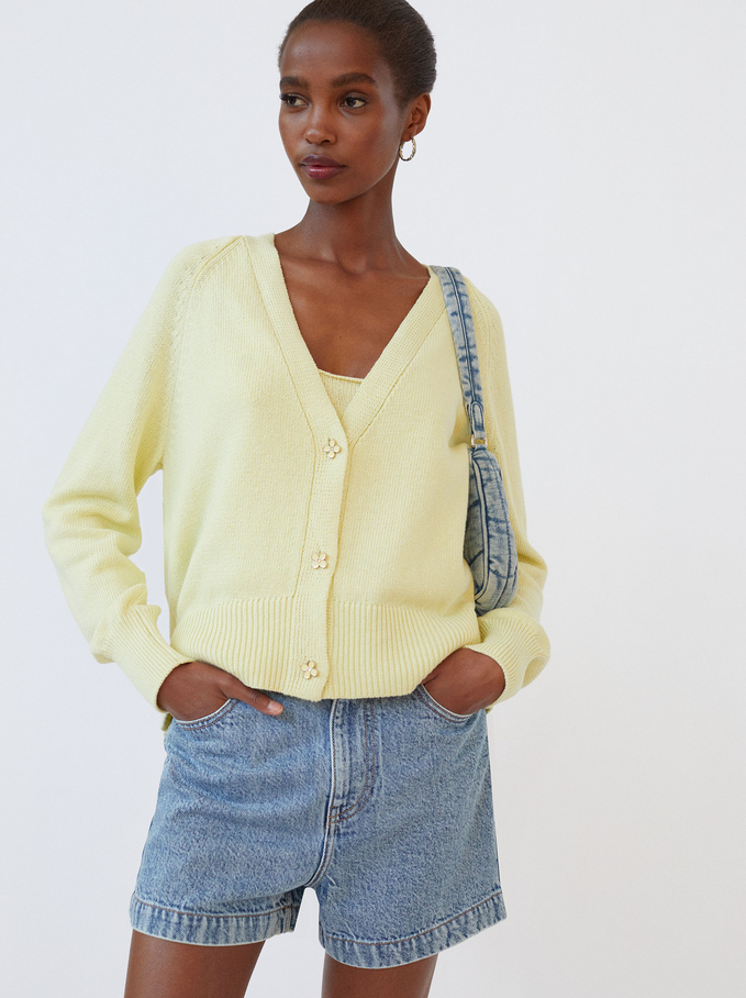 Knitted Cardigan With Buttons, Yellow, hi-res
