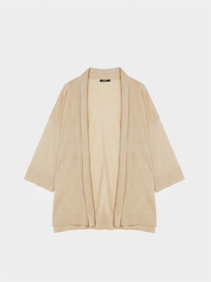 Knit Open Kimono , Beige, hi-res
