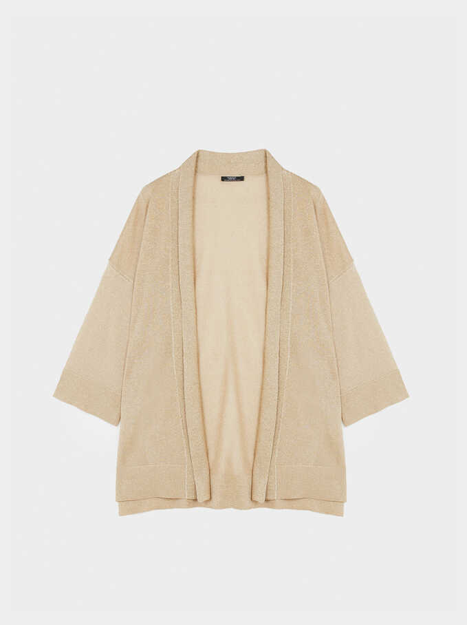 Kimono Abierto De Punto , Beige, hi-res
