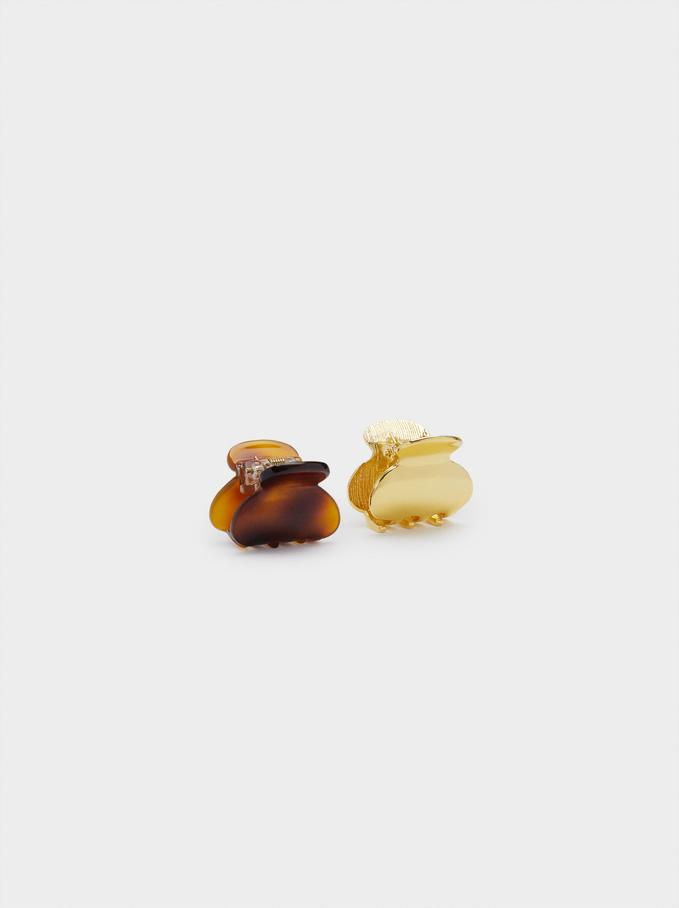 Conjunto De Pinzas De Pelo, Dorado, hi-res
