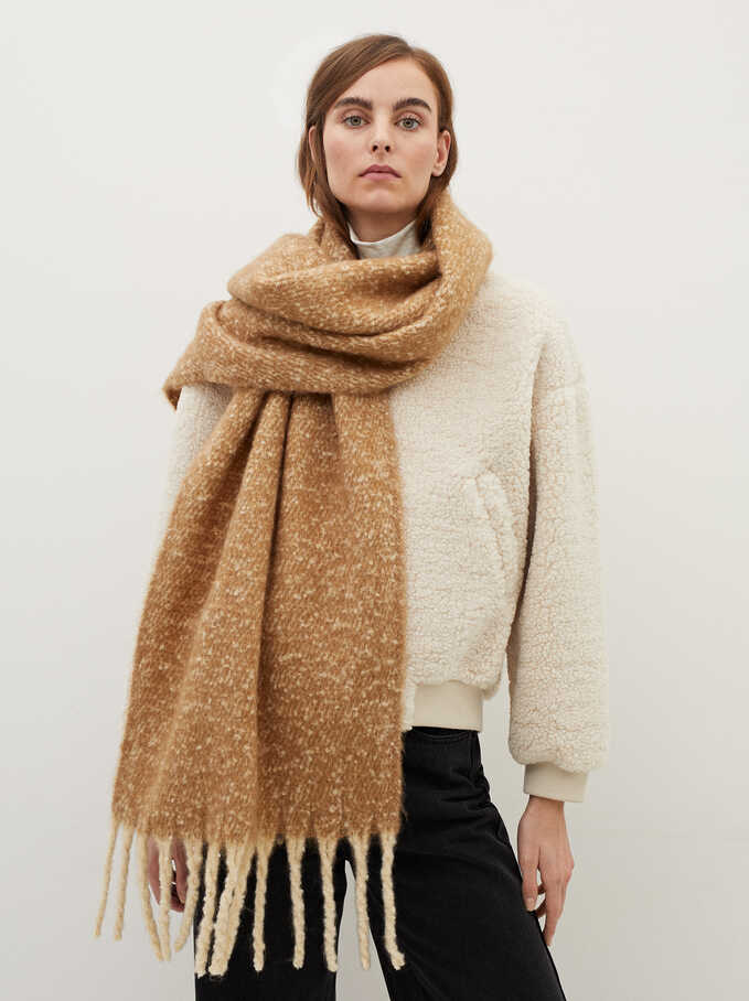 Blanket Scarf With Fringing, Camel, hi-res