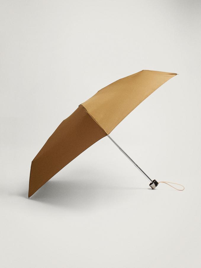 Small Folding Umbrella, Khaki, hi-res