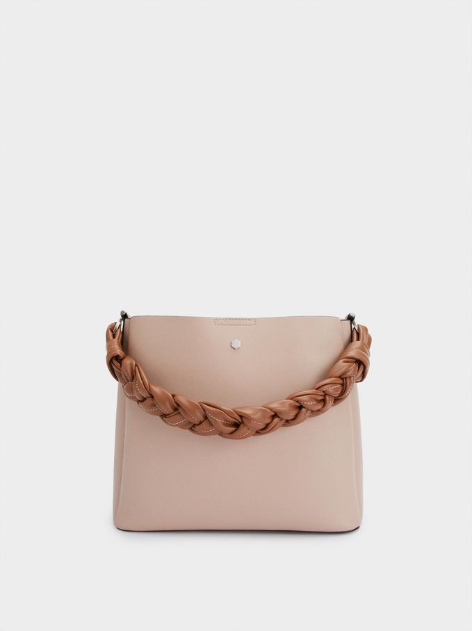 Handbag With Braided Handle, Pink, hi-res