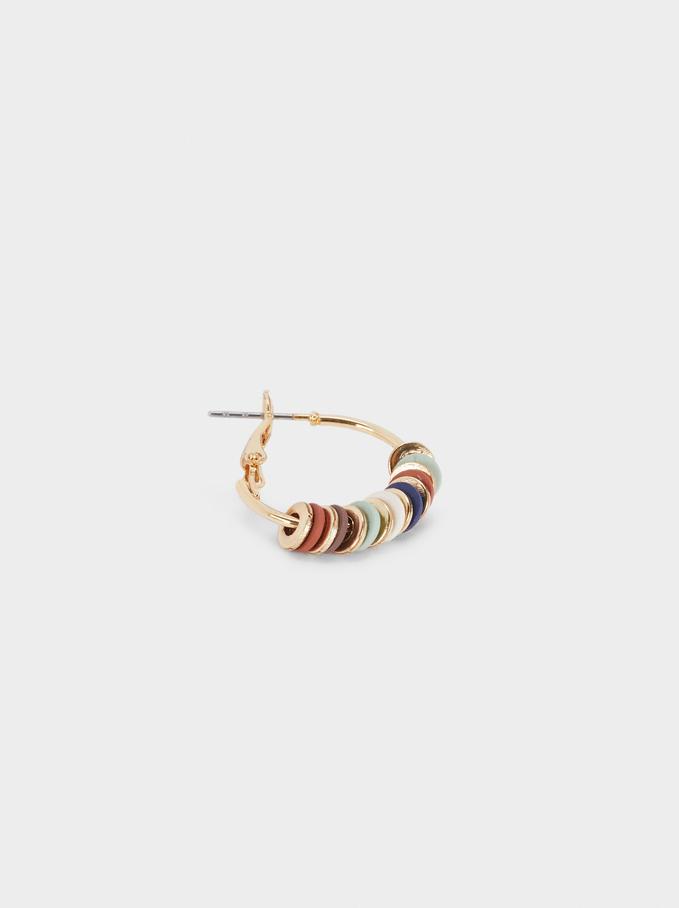 Beaded Hoop Earrings, Multicolor, hi-res