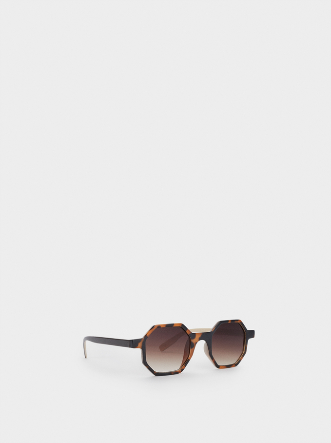 Hexagonal Sunglasses, Brown, hi-res