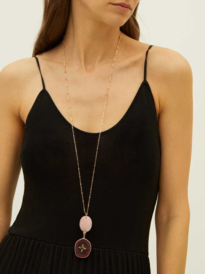 Long Necklace With Stone, Golden, hi-res