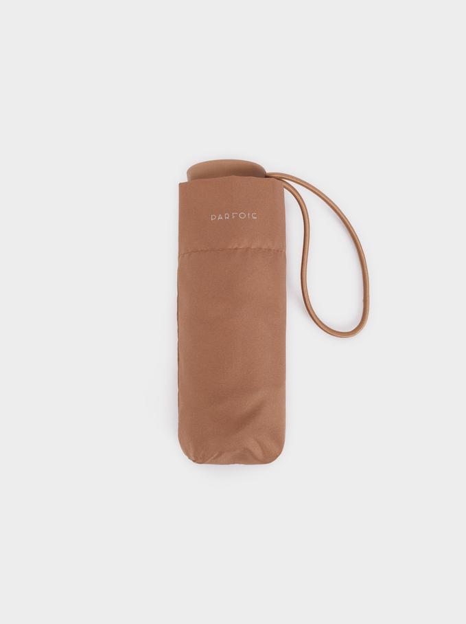 Small Folding Plain Umbrella, Beige, hi-res