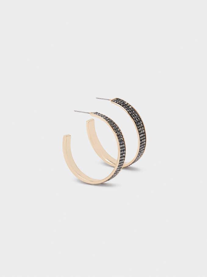 Hoop Earrings With Rhinestones, Multicolor, hi-res