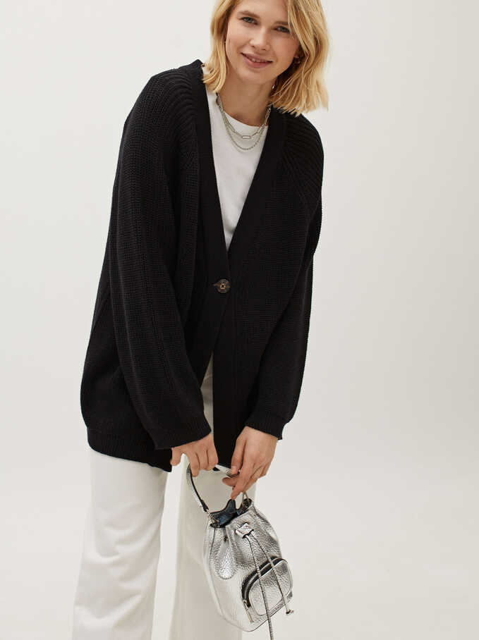 Knit Cardigan With Button Fastening, Black, hi-res