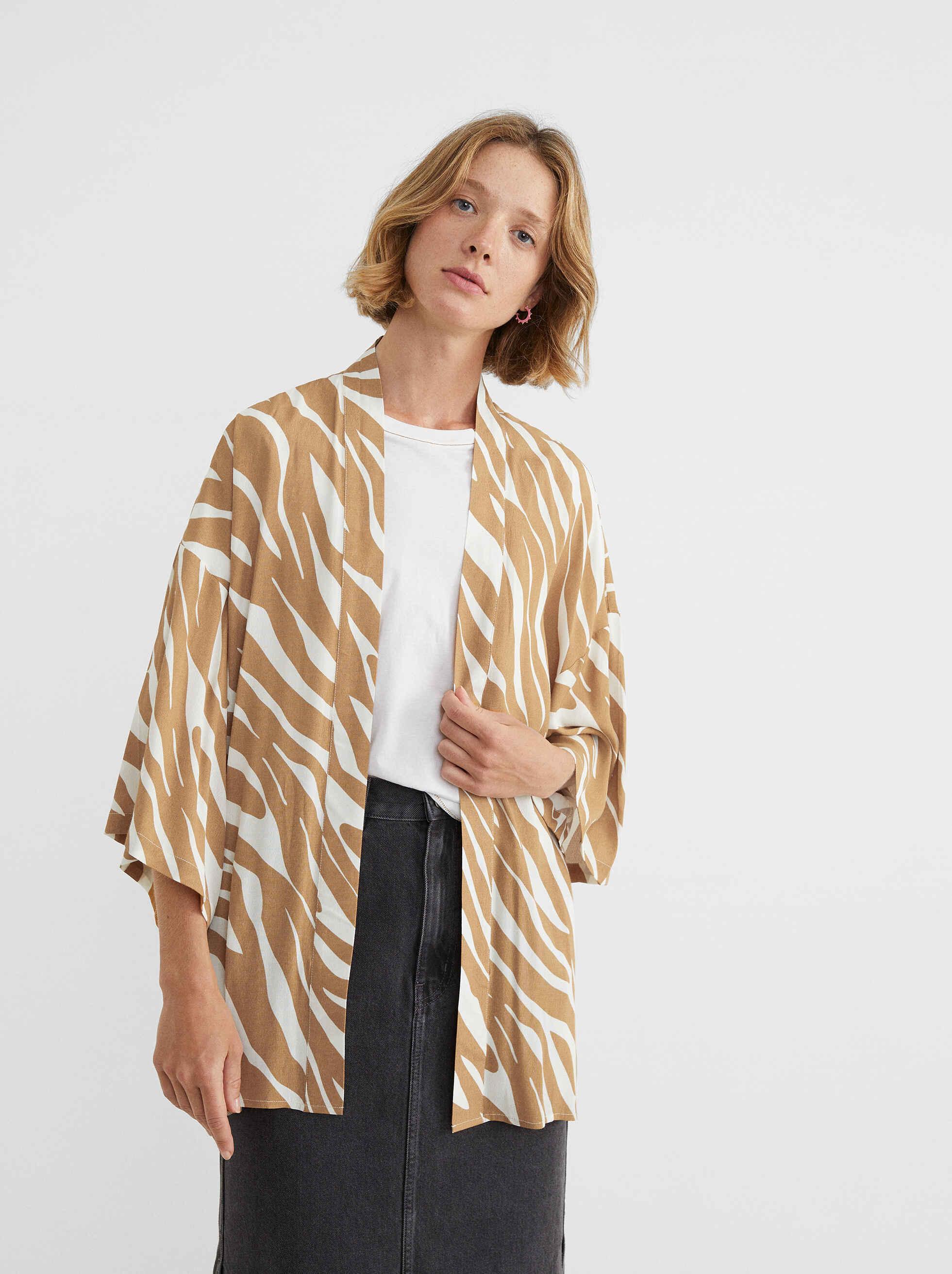 Kimono Abierto Estampado Animal, Camel, hi-res