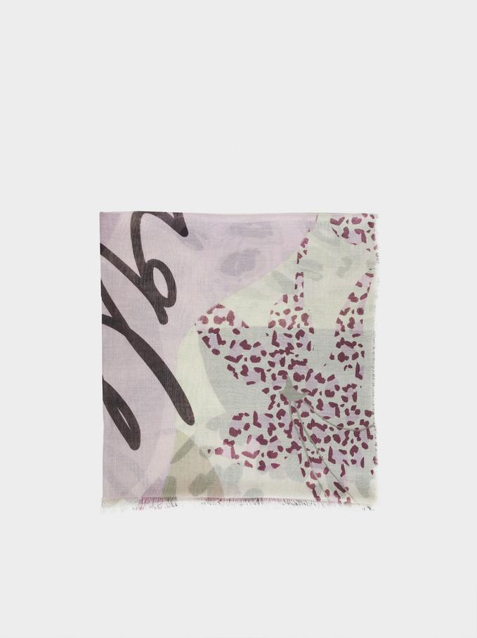 Printed Scarf, Violet, hi-res