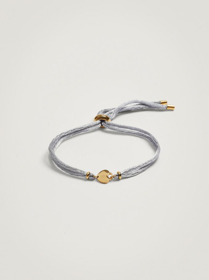 Adjustable Bracelet With Steel Charm, Blue, hi-res