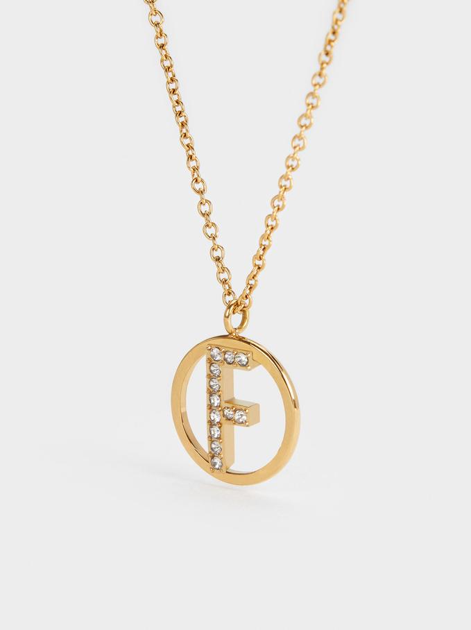 Short Steel Necklace With Letter F, Golden, hi-res