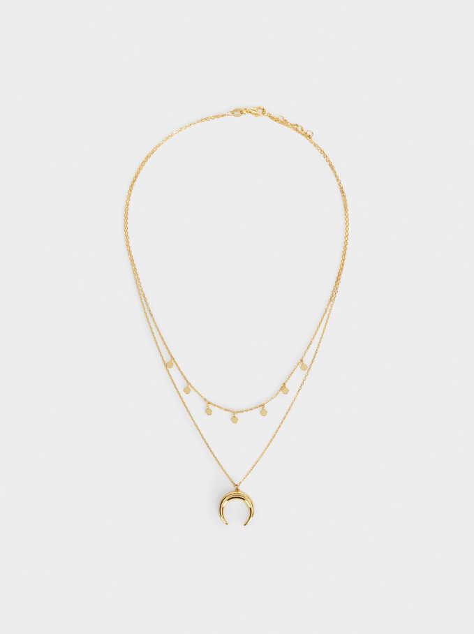 Collar Corto De Plata 925 Con Cuerno, Dorado, hi-res
