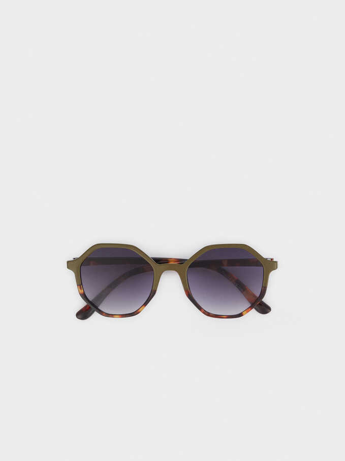 Sunglasses With Round Frames, Green, hi-res