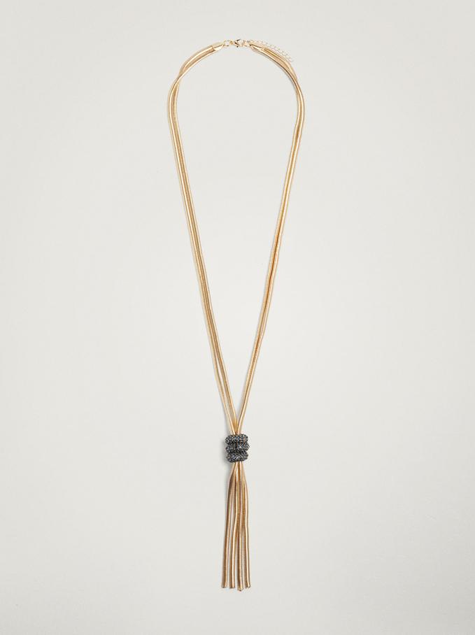 Long Knot Necklace, Blue, hi-res