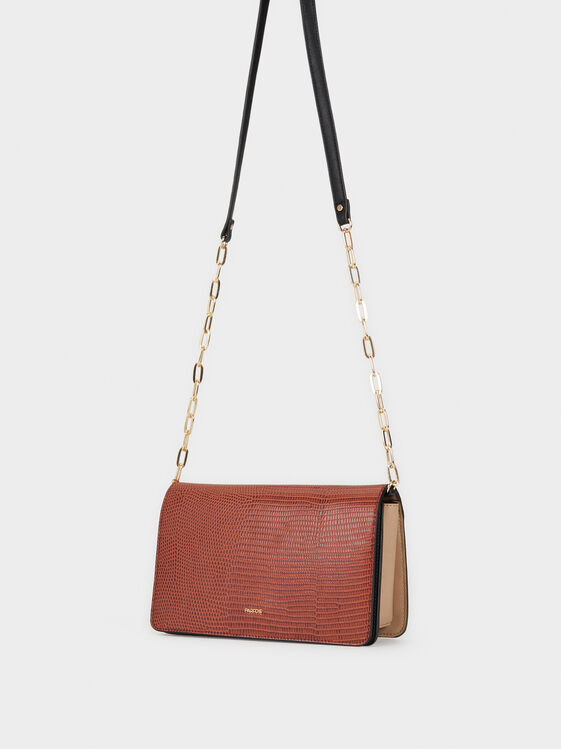 Embossed Faux Leather Crossbody Bag, Brick Red, hi-res