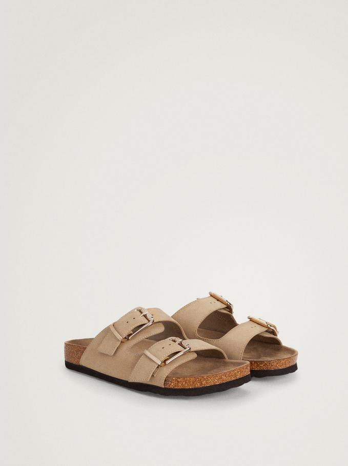 Flat Buckled Sandals, Beige, hi-res