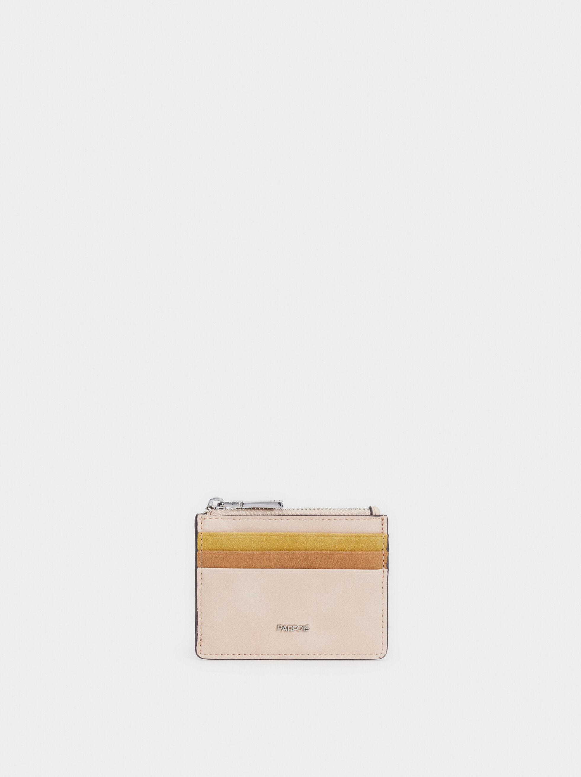 Suede Texture Card Holder, Beige, hi-res