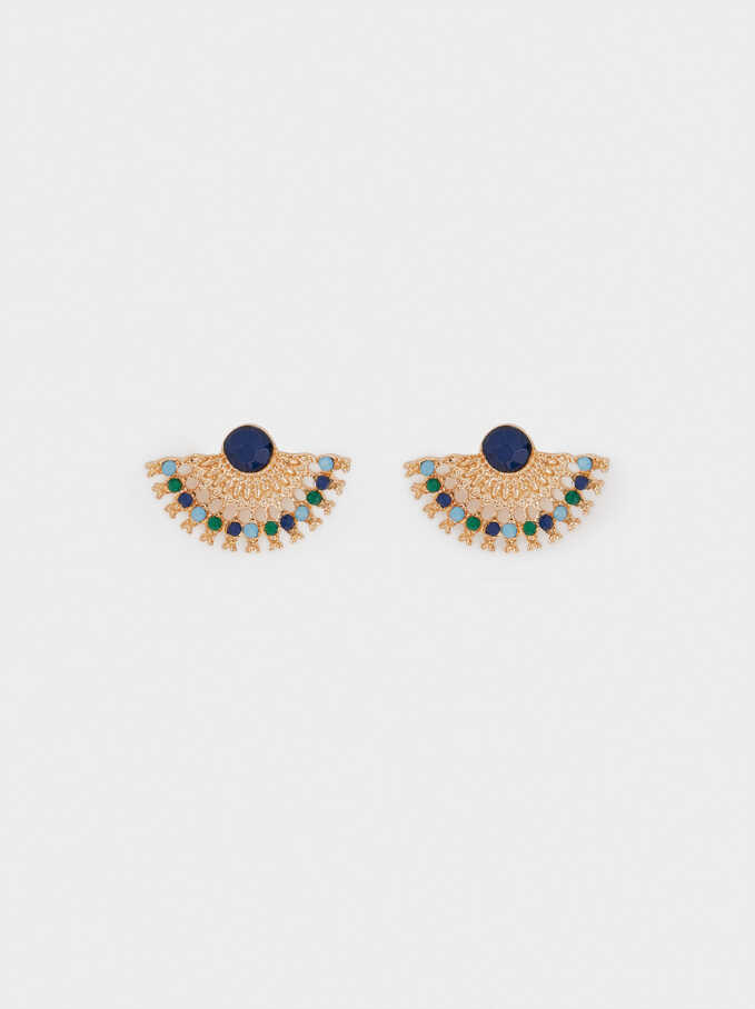 Short Earrings With Beads, Multicolor, hi-res