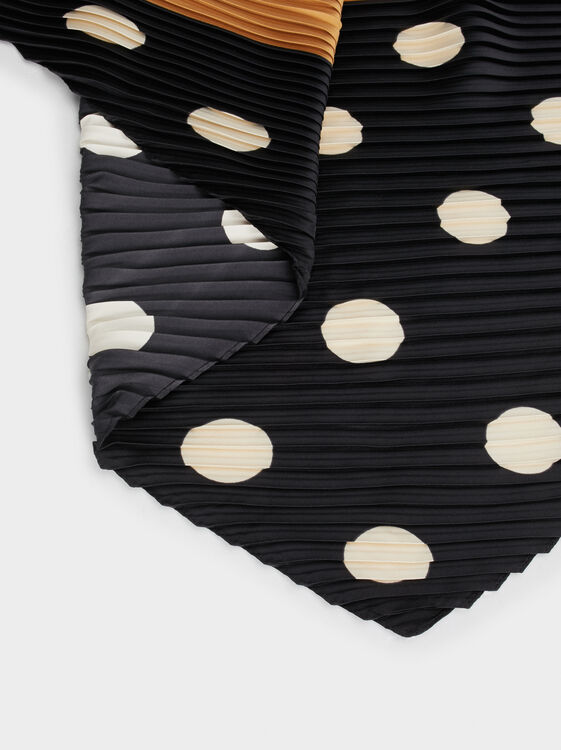 Polka Dot Square Neckerchief, Black, hi-res