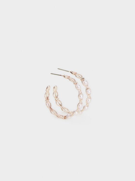 Pink Desert Medium Hoop Earrings With Pearls, Orange, hi-res