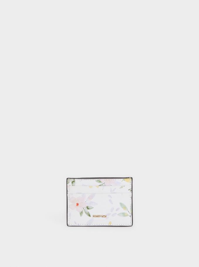 Tarjetero Estampado Floral, Blanco, hi-res